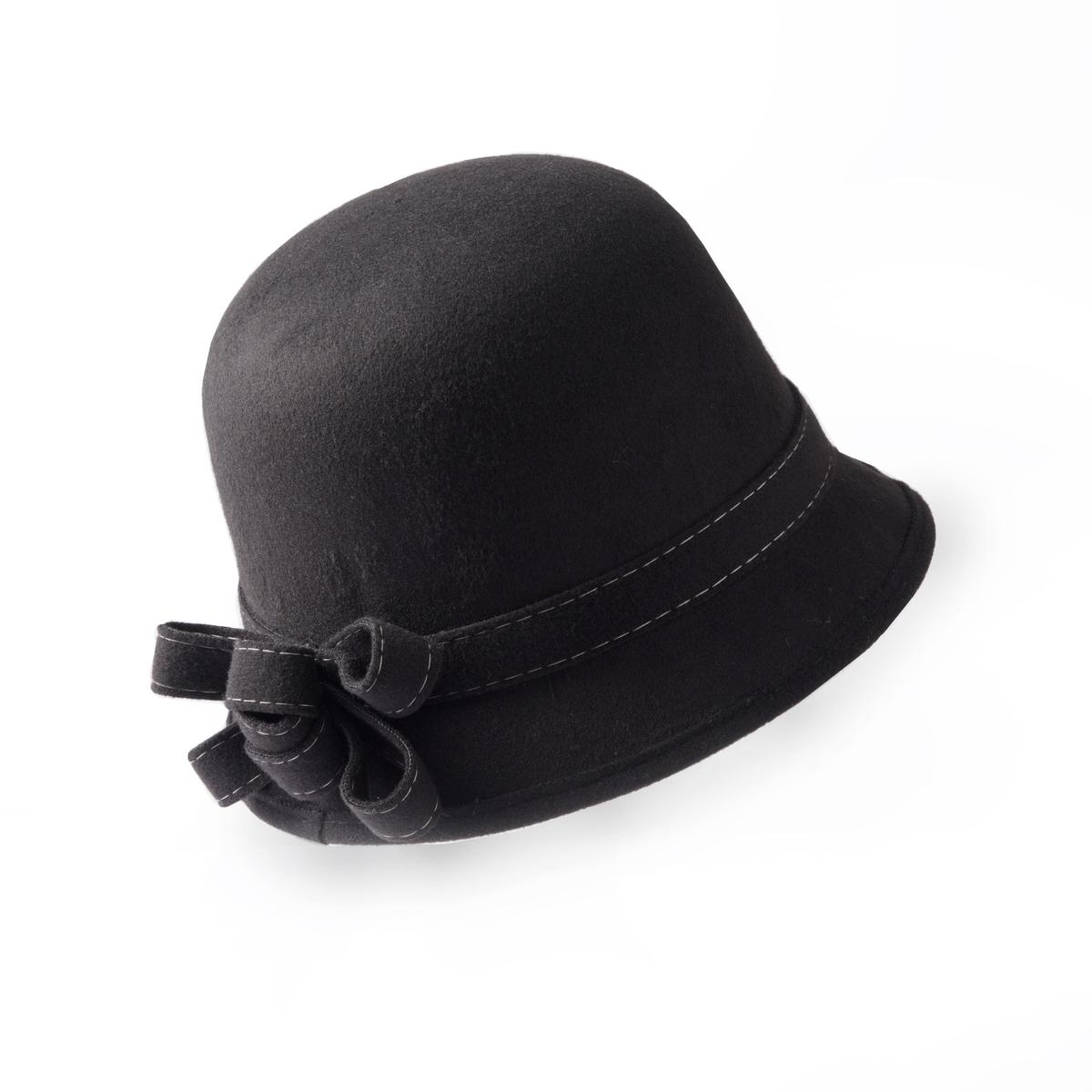 Шляпка-клошШляпка-клош. Красивая изящная и городская форма. Состав и описание :Материал : 100% полиэстер. Один размер.Марка : Anne Weyburn<br><br>Цвет: черный
