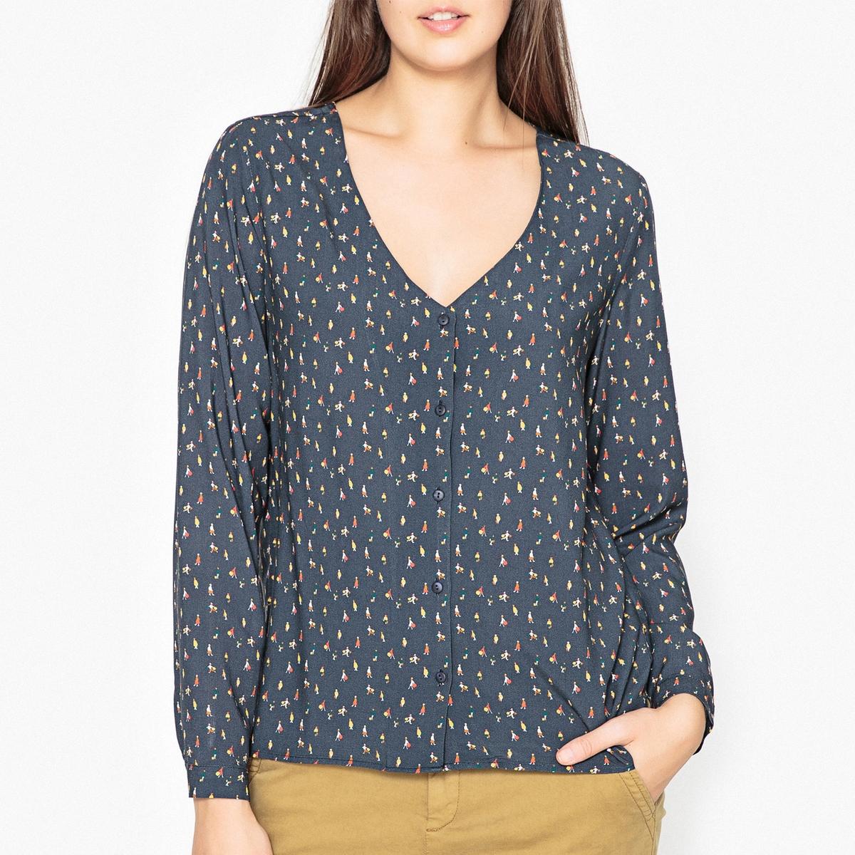 Блузка с V-образным воротником, с рисунком CORETTA рубашка harris wilson harris wilson ha019emqpi73