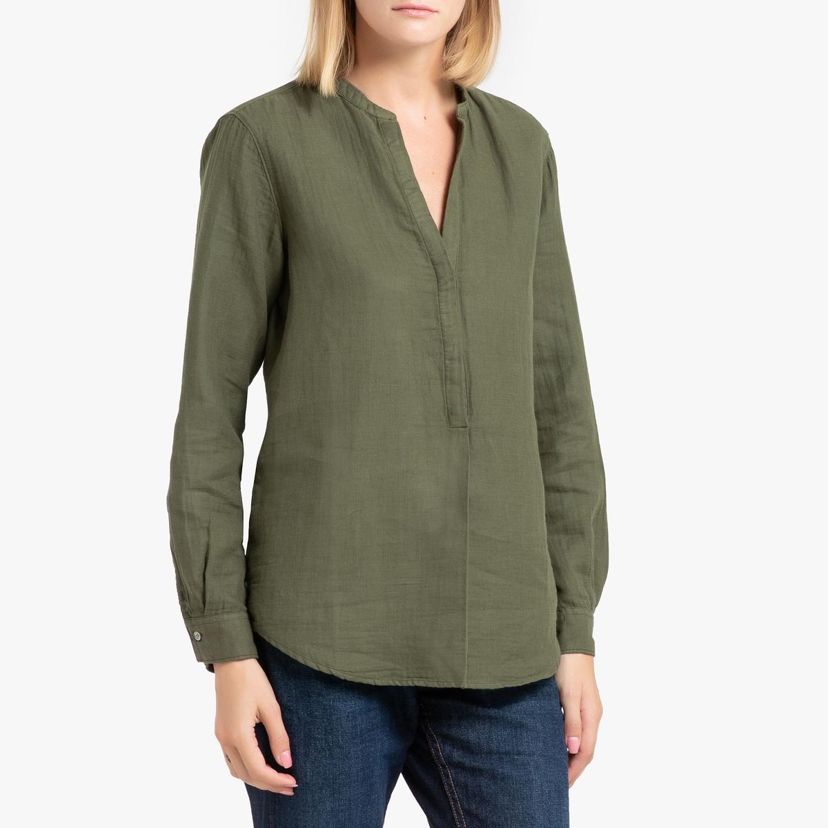 Фото - Блузка La Redoute С длинными рукавами CARTA 3(L) зеленый блузка женская oodji collection цвет светло зеленый белый 21412132 2b 24681 6010g размер 44 170 50 170