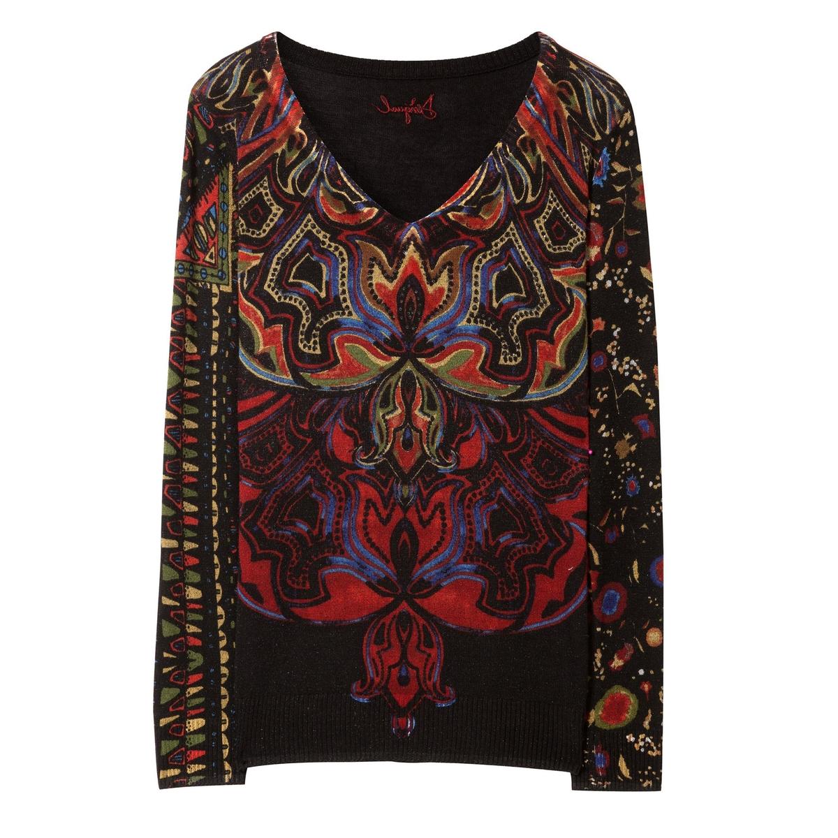 Пуловер из тонкого трикотажа с принтом женский пуловер desigual