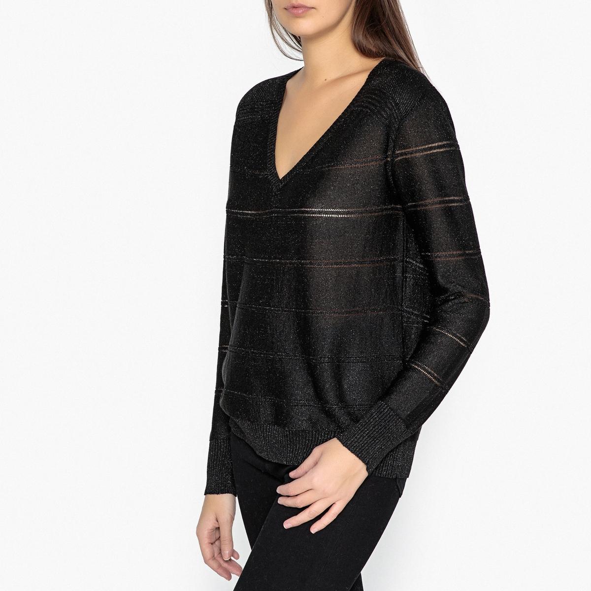 Пуловер с V-образным вырезом из ажурного трикотажа ALAIS пуловер без рукавов с v образным вырезом из трикотажа в рубчик