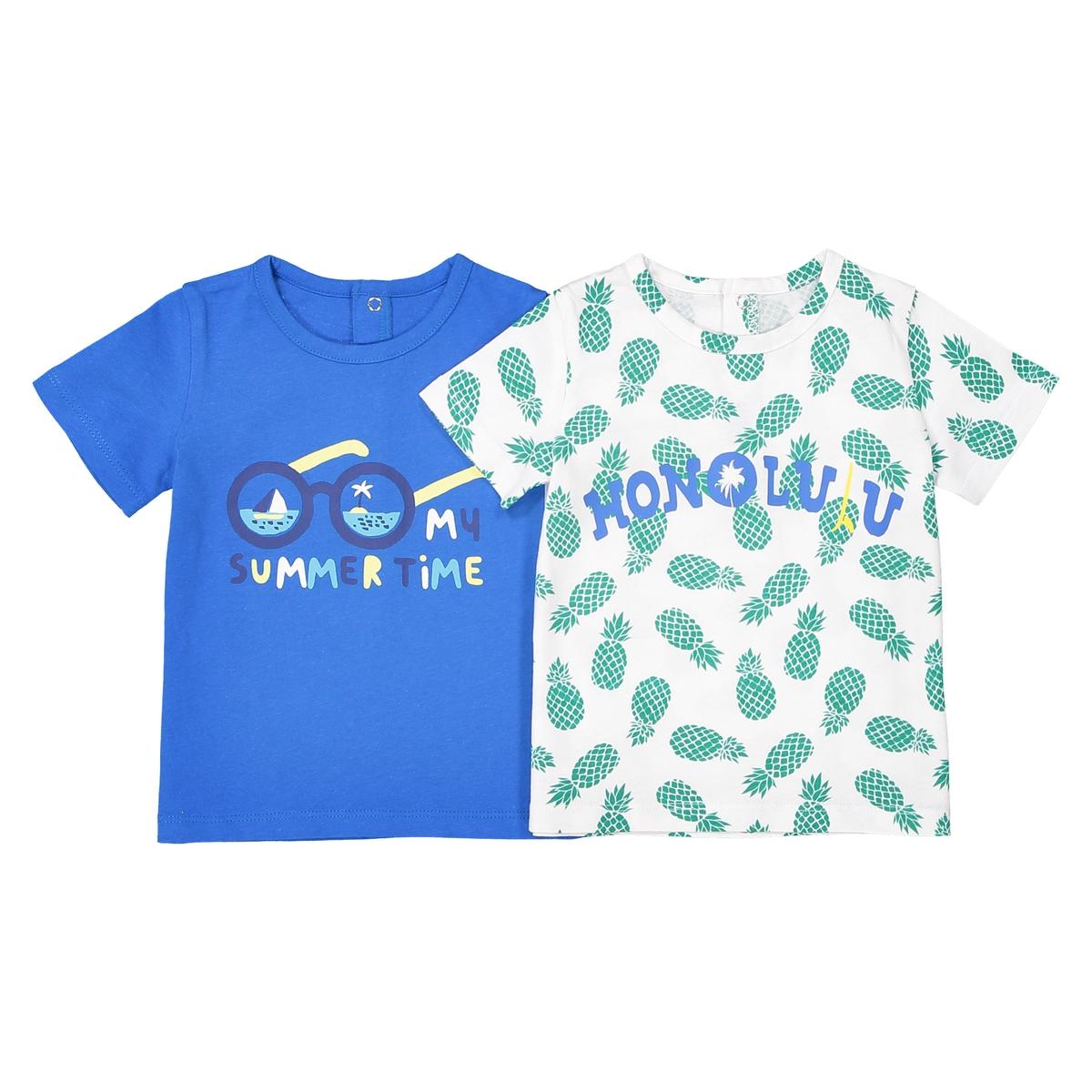 Confezione da 2 t-shirt scollo rotondo Oeko Tex da 1 mese a 2 anni