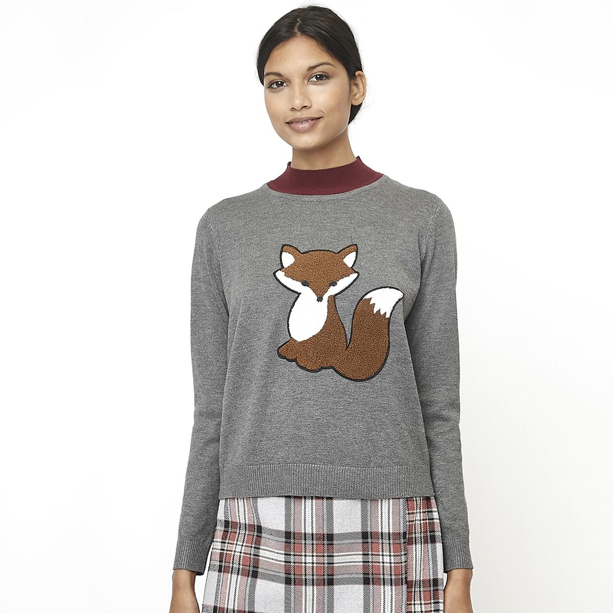 Пуловер La Redoute С рисунком Лис спереди и круглым вырезом M серый футболка la redoute с круглым вырезом и принтом спереди 3 года 94 см серый