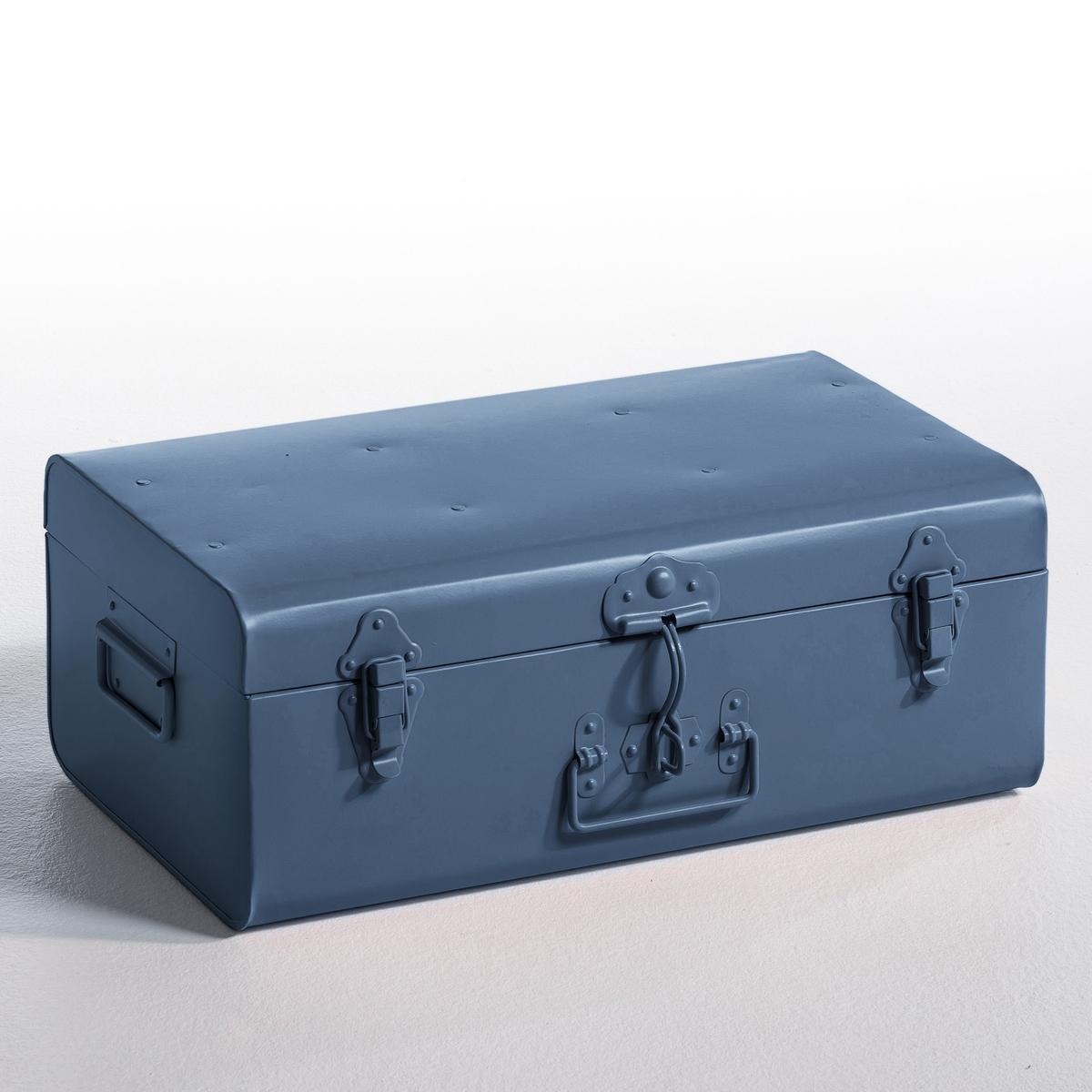 Сундук металлический DeniseИз оцинкованного металла. 2 ручки по бокам, 1 спереди.                           Закрывается на 3 защёлки спереди. Размер. : Ш. 47x В. 19 x Г. 27 см.<br><br>Цвет: леопардовый рисунок,синий