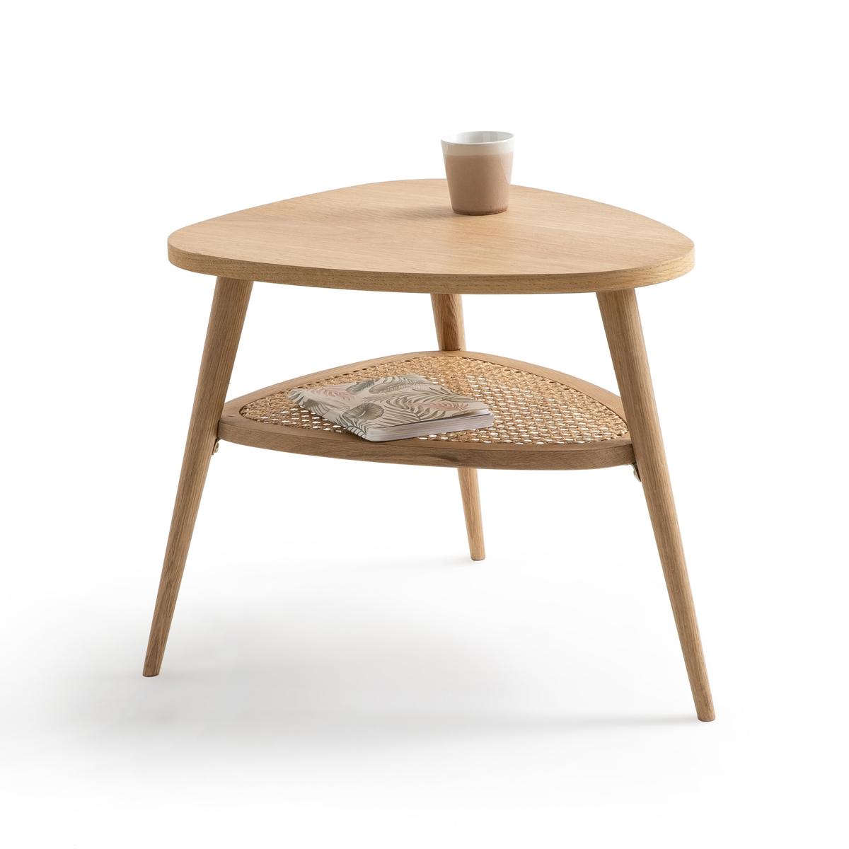 Столик La Redoute Прикроватный из дуба и плетеного ротанга с двойной столешницей Buisseau единый размер каштановый
