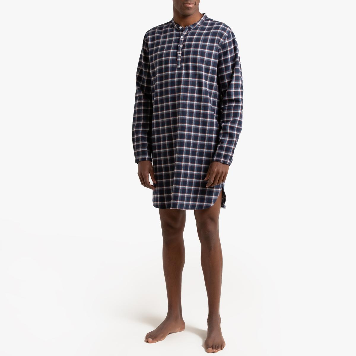 цена Пижама La Redoute С рубашкой в клетку с круглым вырезом с разрезом спереди 45/46 синий онлайн в 2017 году