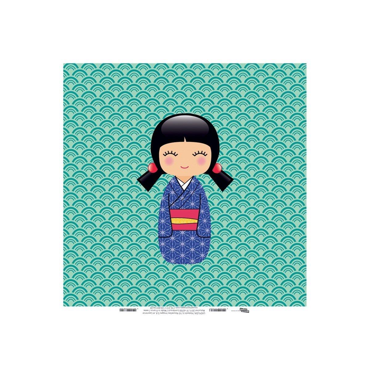 Toile imprimée 30x30 cm Kokeshi 4 (Ladyleia)