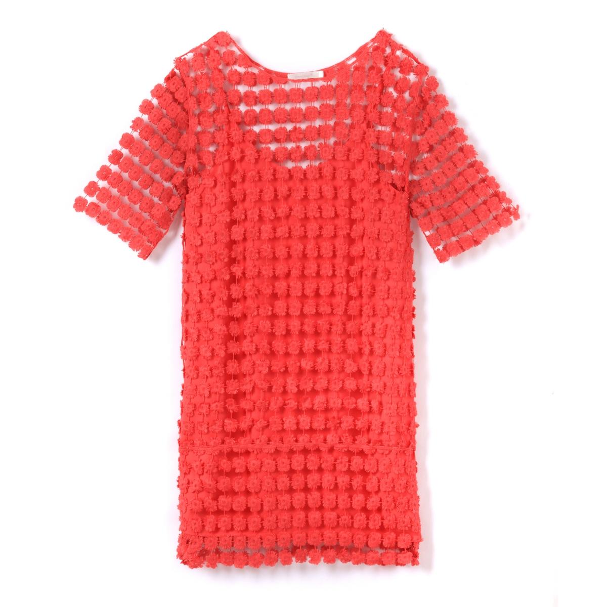 Платье с короткими рукавами и вышивкойОписание:Детали  •  Форма :прямая •  Укороченная модель •  Короткие рукава    •  Круглый вырезСостав и уход •  100% вискоза •  Следуйте советам по уходу, указанным на этикетке<br><br>Цвет: оранжевый/ коралловый<br>Размер: M
