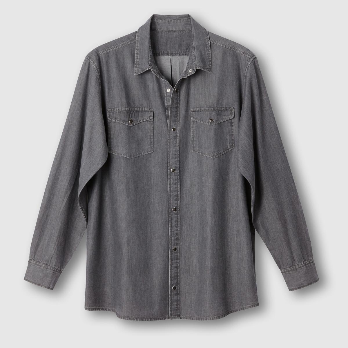 Рубашка из денимаРубашка из денима. Длинные рукава. 2 накладных нагрудных кармана с клапанами на пуговице. Застёжка на металлические кнопки. Складка для большего комфорта сзади. Закругленные полочки. Деним, 100% хлопка. Длина 85 см .<br><br>Цвет: серый,синий индиго потертый<br>Размер: 45/46.53/54