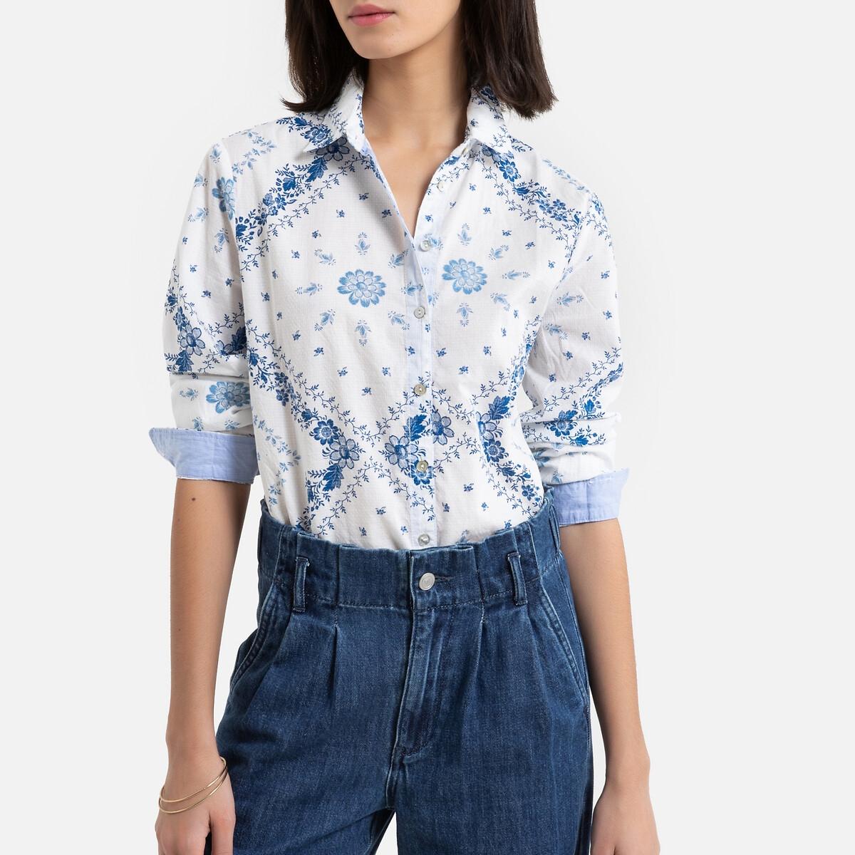 Рубашка La Redoute С длинными рукавами с принтом S белый