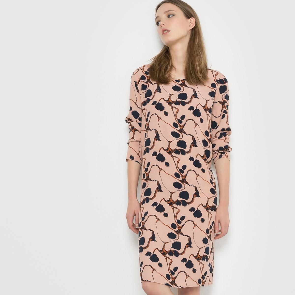 Платье с рисунком и длинными рукавамиСостав и описаниеМатериал: 100% вискозы.     Марка: ICHI<br><br>Цвет: бледно-розовый<br>Размер: S