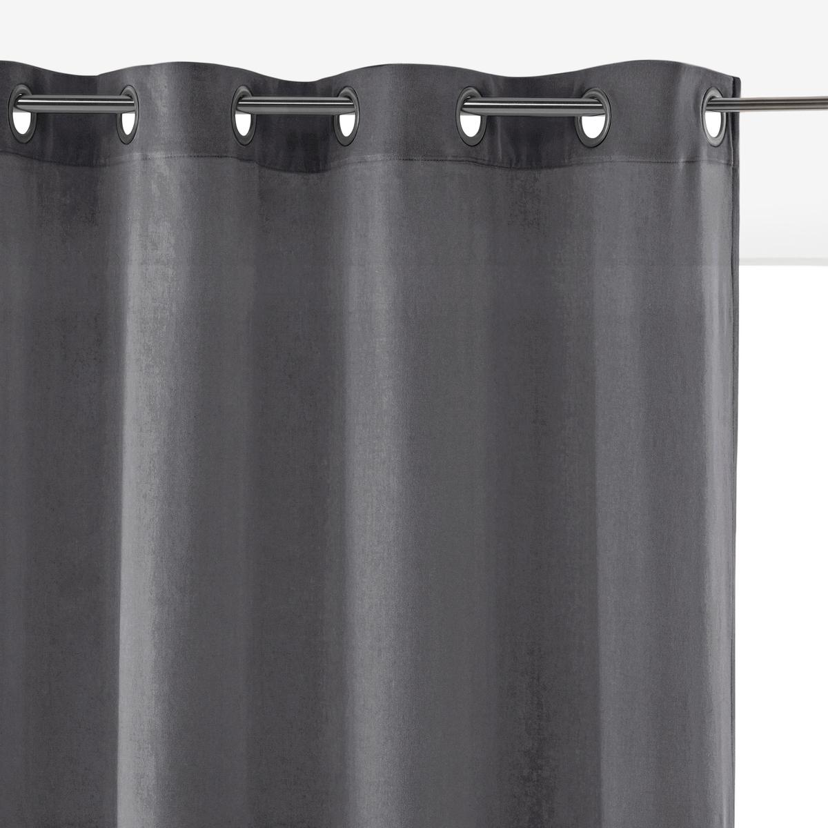 Велюровая La Redoute Штора с люверсами VELVET 260 x 135 см серый штора с люверсами 100% хлопок aron