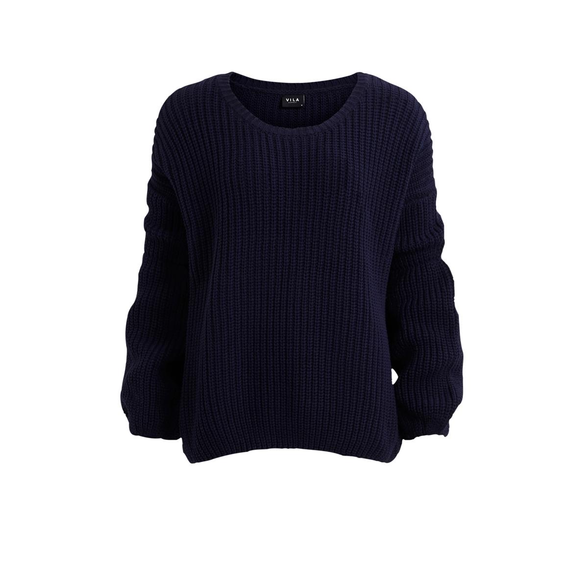 Пуловер с длинными рукавамиСостав и описание: Материал: 60% хлопка, 40% акрила.Марка: Vila.Длинные рукава.Круглый вырез.<br><br>Цвет: темно-синий<br>Размер: M.L