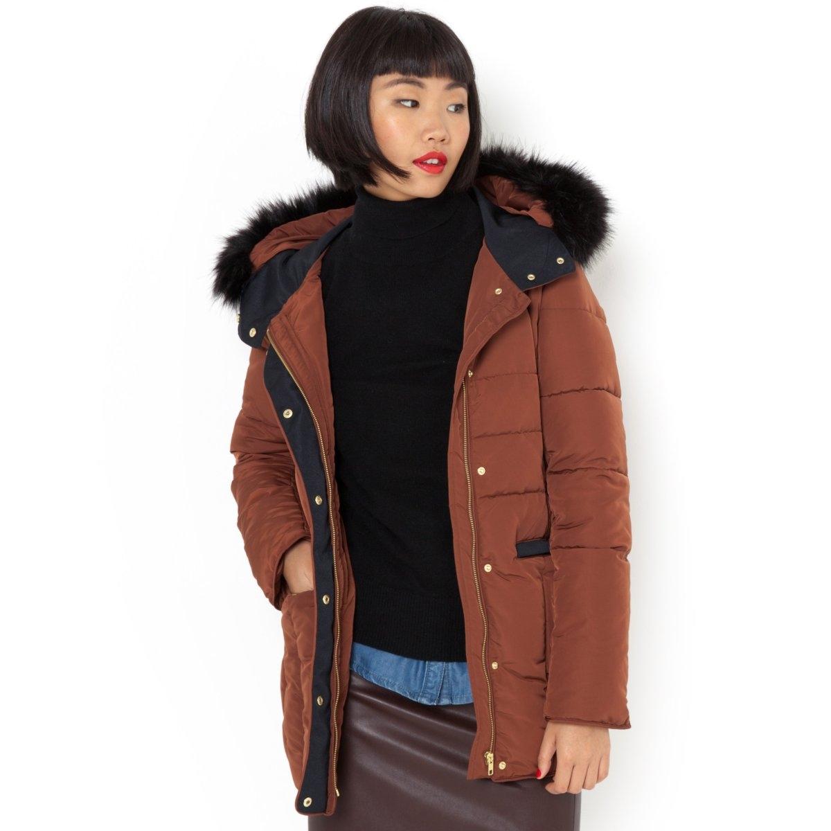 Куртка стеганая средней длины с капюшоном от La Redoute