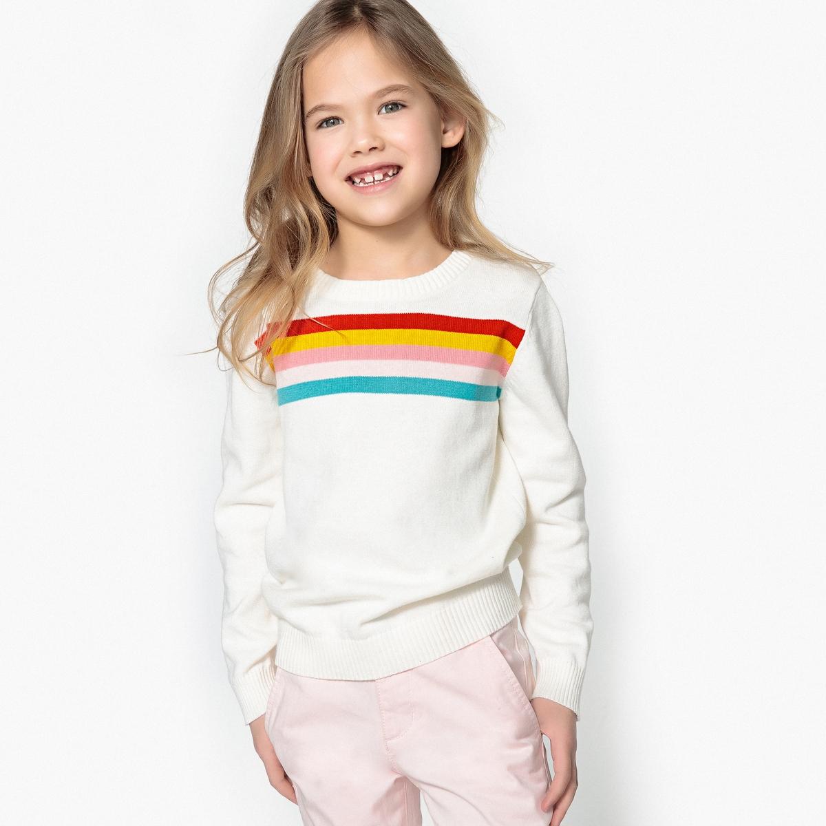 Пуловер с набивным рисунком в полоску, 3-12 лет
