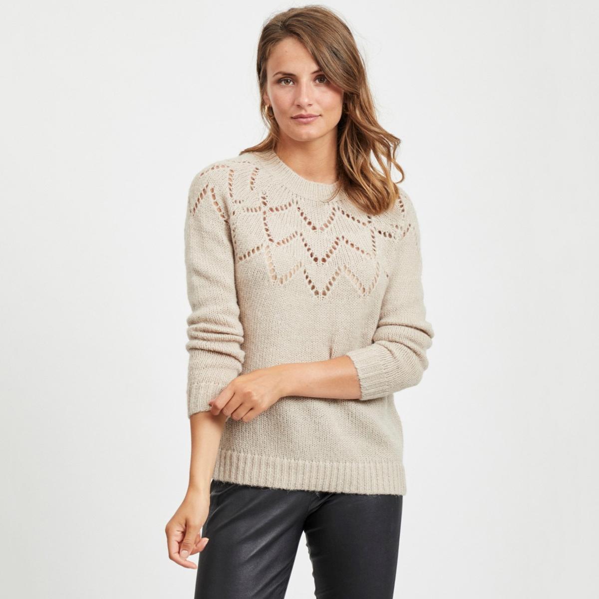 цена Пуловер La Redoute С круглым вырезом и длинными рукавами M бежевый онлайн в 2017 году
