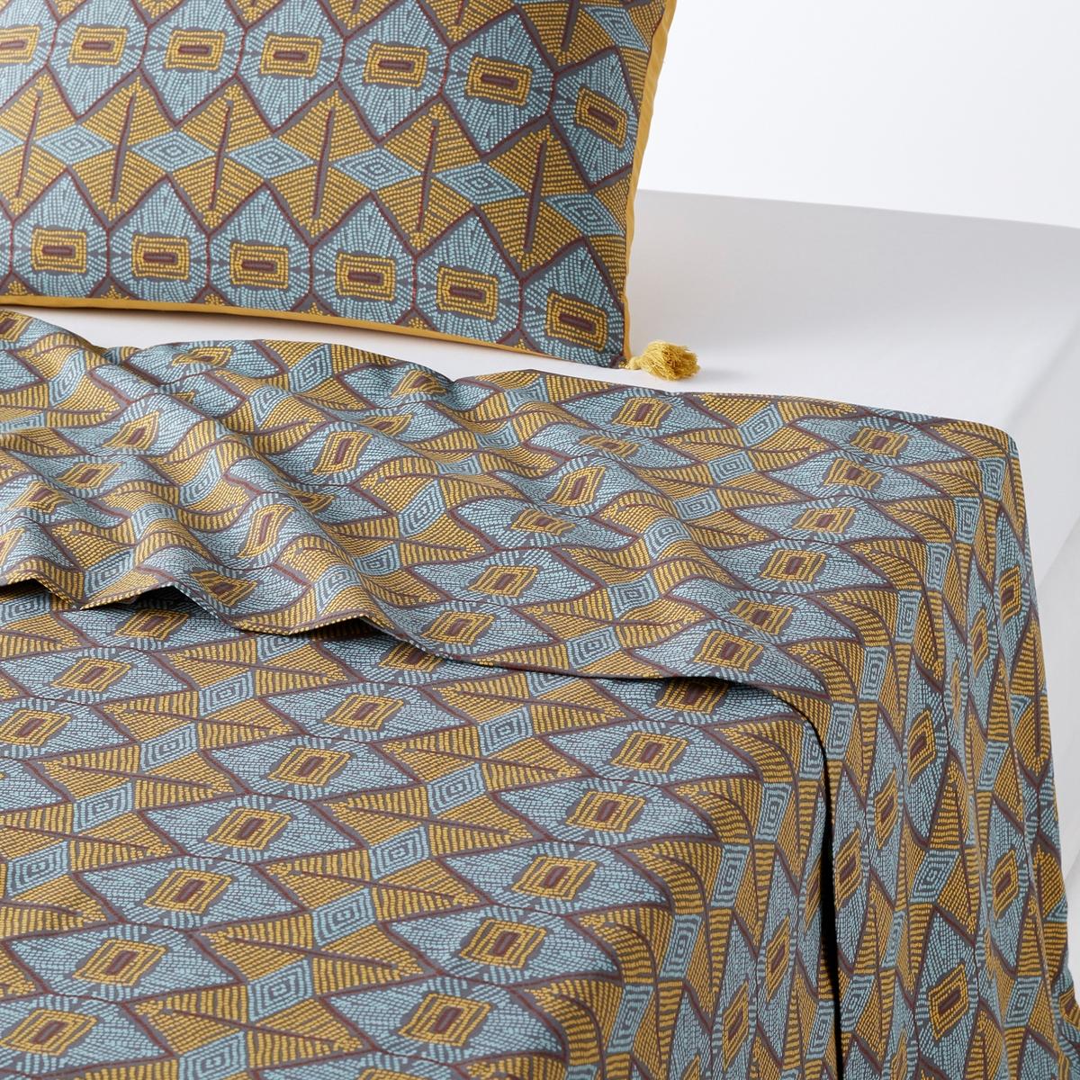 Простыня гладкая с рисунком KOUBANХарактеристики гладкой простыни Kouban :Гладкая простыня : Рисунок в этническом стиле охрового и серо-синего цвета. 100% хлопок (57 нитей/см2) : чем больше количество нитей/см2, тем выше качество ткани. Легкость ухода. Машинная стирка при 60 °С.Однотонную натяжную простыню соответствующей расцветки коллекции Sc?nario из хлопка и всю коллекцию постельного белья Kouban вы можете найти на сайте laredoute.ruЗнак Oeko-Tex® гарантирует, что товары прошли проверку и были изготовлены без применения вредных для здоровья человека веществ. Размеры :180  x 290 см : 1-сп.240 х 290 см : 2-сп.270 x 290 см : 2-сп.<br><br>Цвет: набивной рисунок