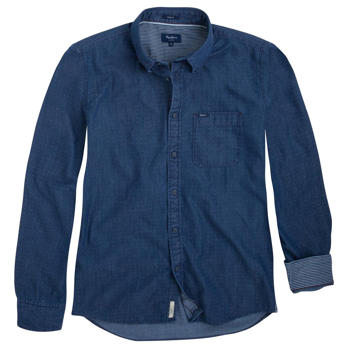 Рубашка PAGANO из денима в горошекРубашка с рисунком PAGANO из денима от марки PEPE JEANS®. - Длинные рукава, манжеты на пуговицах с подкладкой из контрастной ткани в полоску- Прямой покрой и закругленный низ- Классический воротник с уголками на пуговицах.- Застежка на пуговицы, нишивка-логотип внизу- 1 нагрудный карман с логотипом- Деним с рисунком в горошекСостав и описание :Основной материал : 100% хлопокМарка : PEPE JEANS®Уход :Следуйте рекомендациям, указанным на этикетке изделия.<br><br>Цвет: синий/наб. рисунок<br>Размер: S