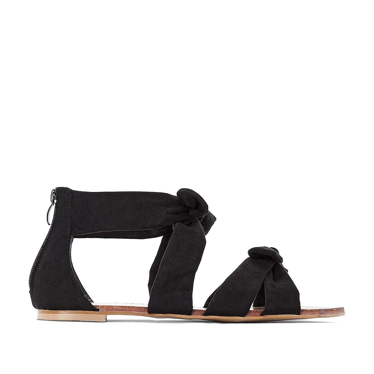 Босоножки LaRedoute На плоском каблуке для широкой стопы размеры 38-45 38 черный балетки laredoute на плоском каблуке для широкой стопы 38 45 43 бежевый