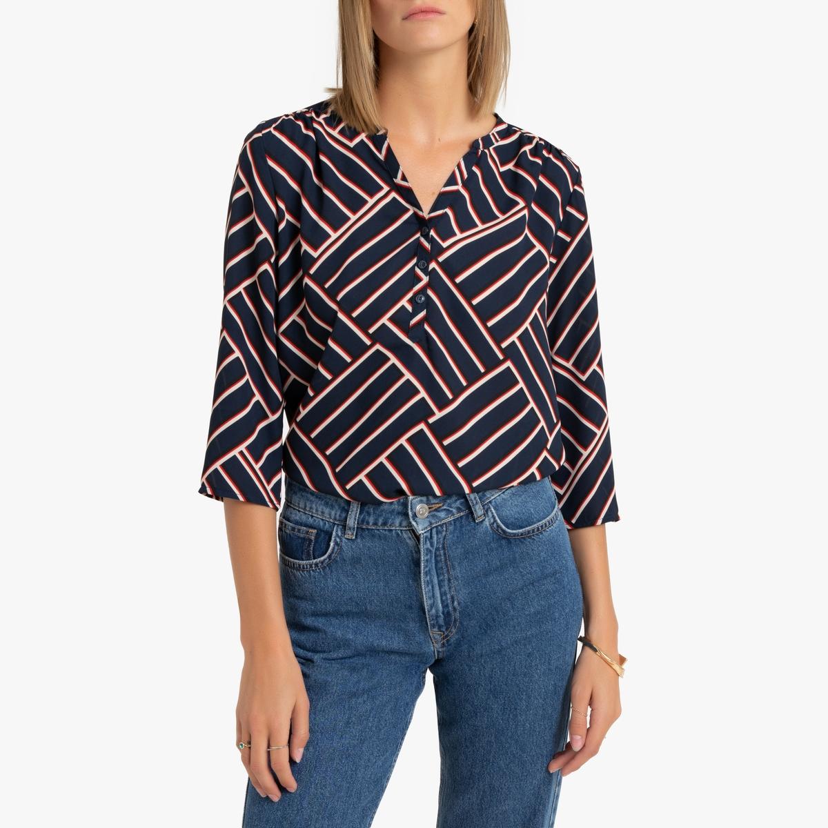 Блузка La Redoute С рукавами и графическим рисунком 42 (FR) - 48 (RUS) серый брюки la redoute узкие дудочки с жаккардовым рисунком 50 fr 56 rus черный