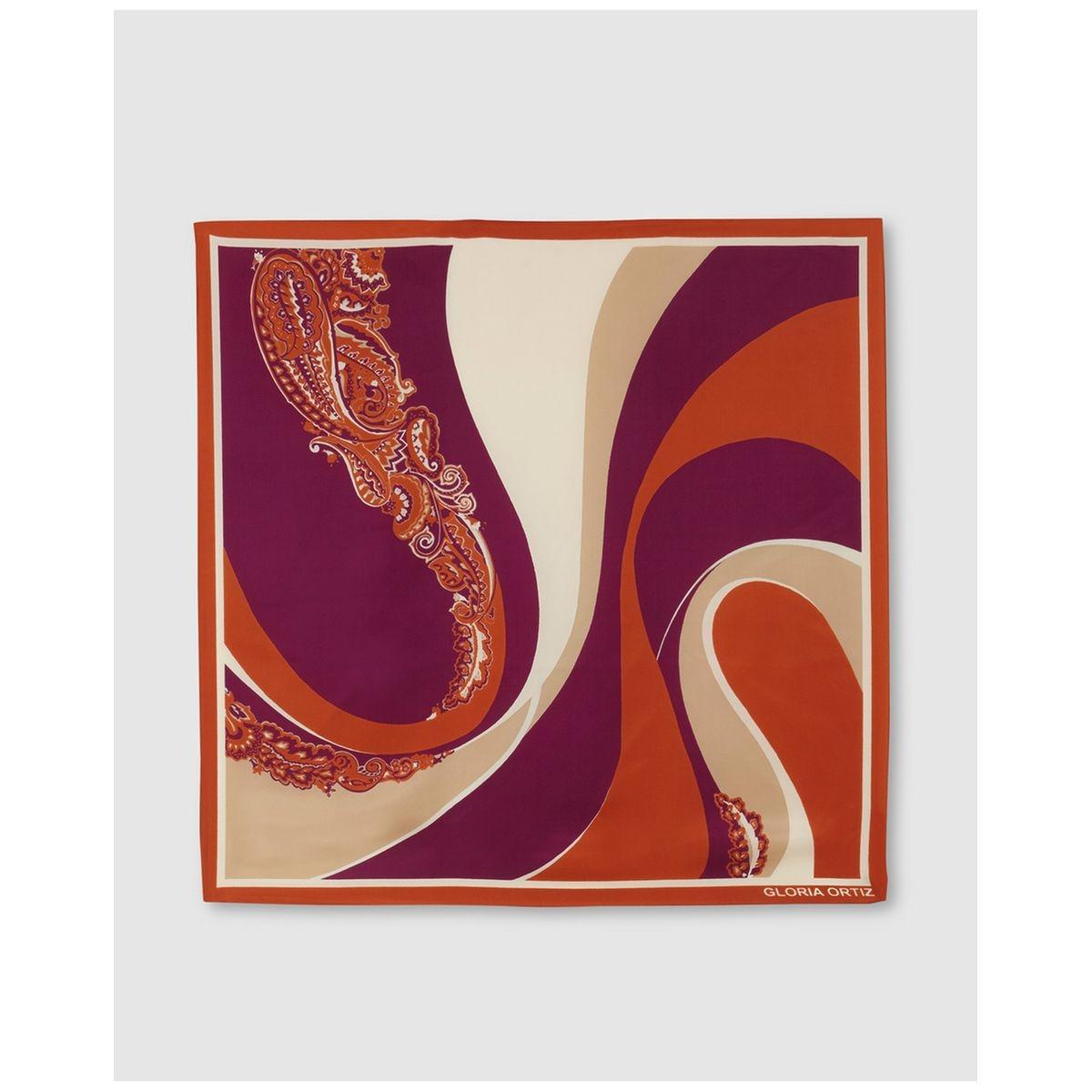 Foulard Deco Waves en soie imprimé