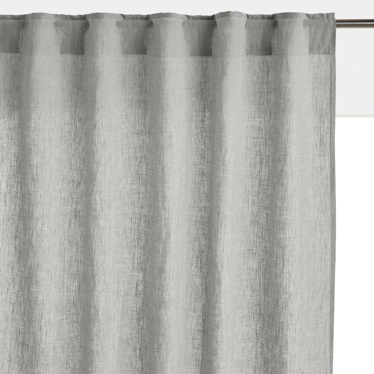 Занавеска LaRedoute Из 100 осветленного льна с потайными клапанами Onega 350 x 135 см серый