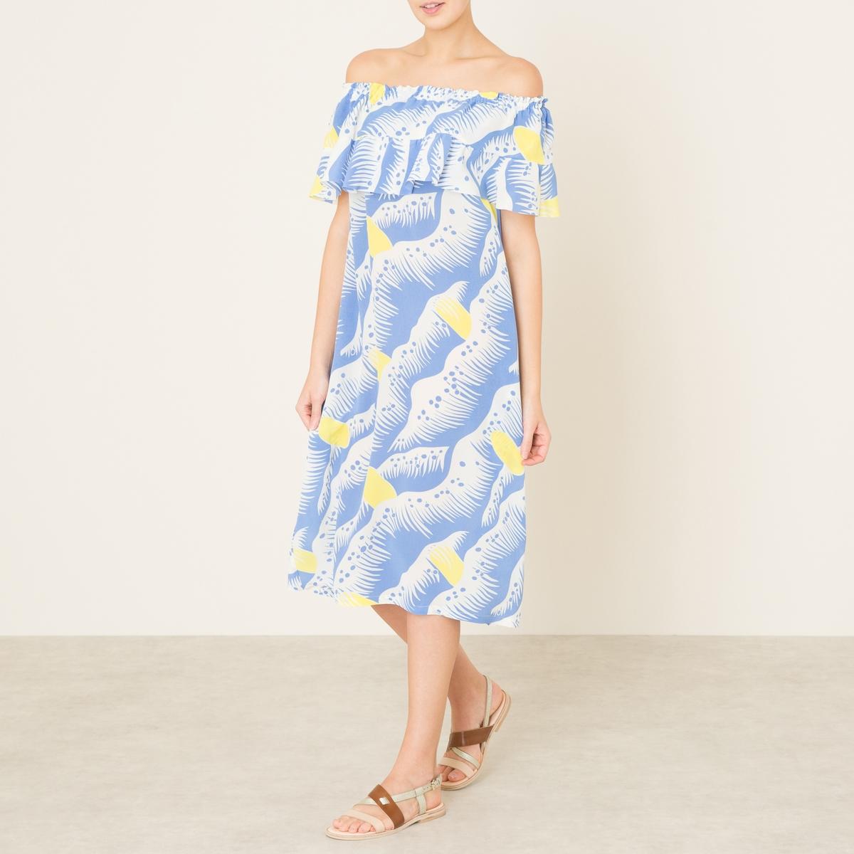 Платье YAELПлатье средней длины TOUPY - модель YAEL с открытыми плечами из смесовой шелковой ткани со сплошным рисунком. Вырез на резинке, открытые плечи, короткие рукава с воланами. Волан на груди. Прямой покрой.Состав и описание    Материал : 55% вискозы, 45% шелка   Длина : от края плеча ок. 105 см. для размера 36   Марка : TOUPY<br><br>Цвет: наб. рисунок синий