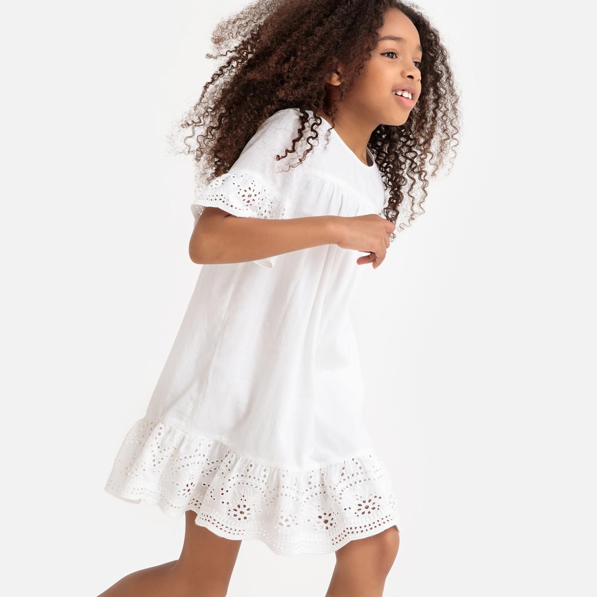 Платье La Redoute С вышивкой и короткими рукавами 12 лет -150 см белый керамогранит ceramica classic terma белый 40х40 см