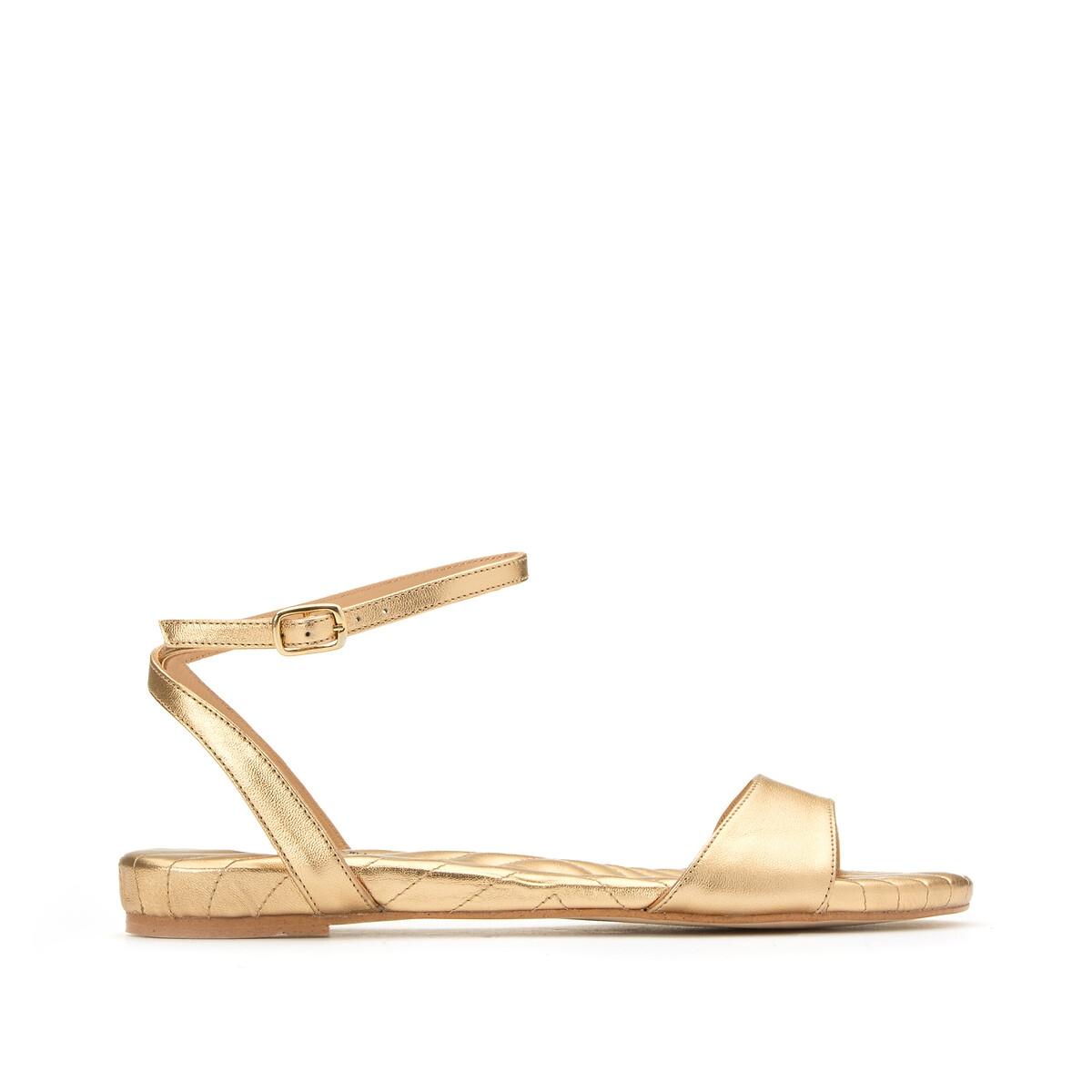 Фото - Босоножки LaRedoute Из кожи на плоском каблуке 39 золотистый сандалии la redoute из кожи с перекрещенными ремешками на плоском каблуке 39 розовый