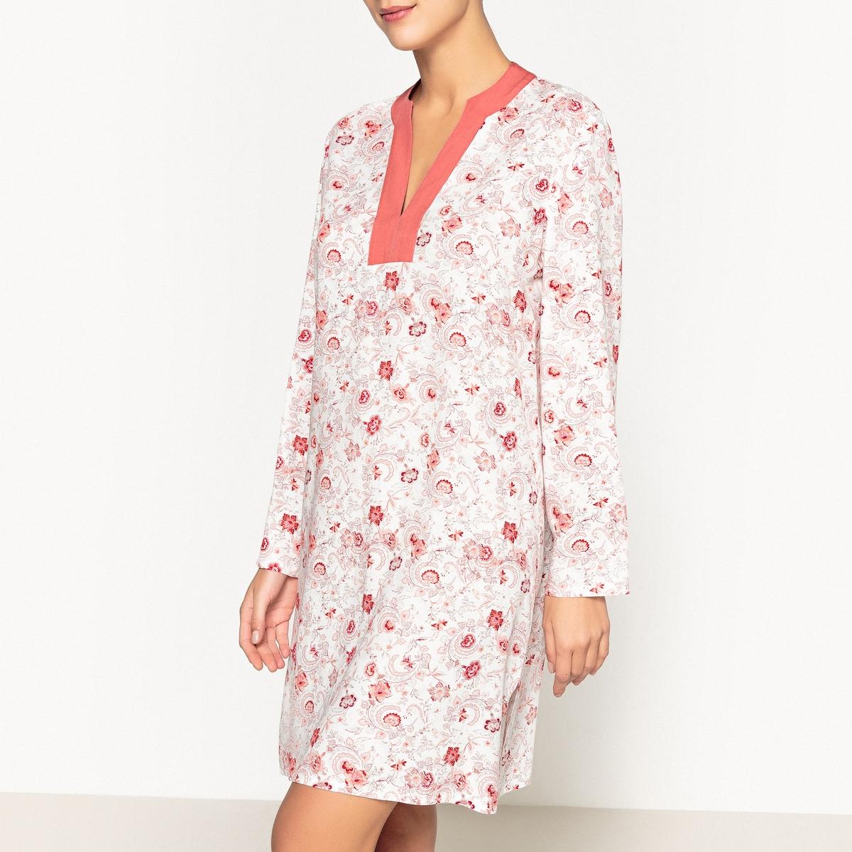 Сорочка ночная с принтом ночная сорочка длинная без рукавов