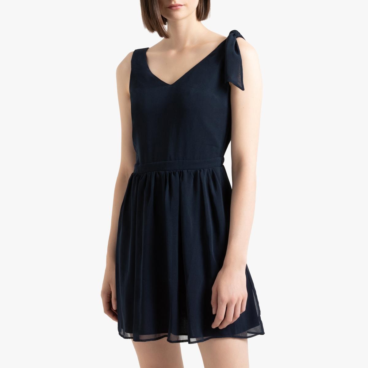 Платье La Redoute С V-образным вырезом спереди и сзади и бантом на бретелях 38 (FR) - 44 (RUS) синий