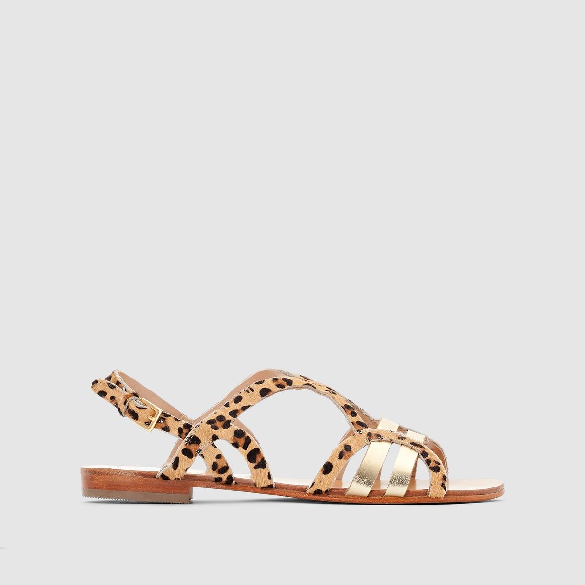 Сандалии COSMOPARIS LOUA/PONYБлагодаря закругленным ремешкам, леопардовому рисунку или коже с металлическим блеском, эти модные сандалии Cosmoparis по-настоящему украсят наши ножки этим летом !<br><br>Цвет: золотистый/леопард<br>Размер: 40