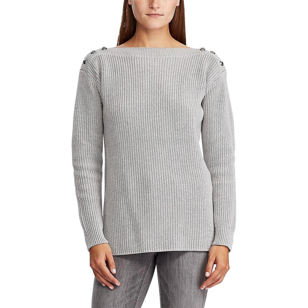 Пуловер La Redoute С вырезом-лодочкой из тонкого трикотажа S серый