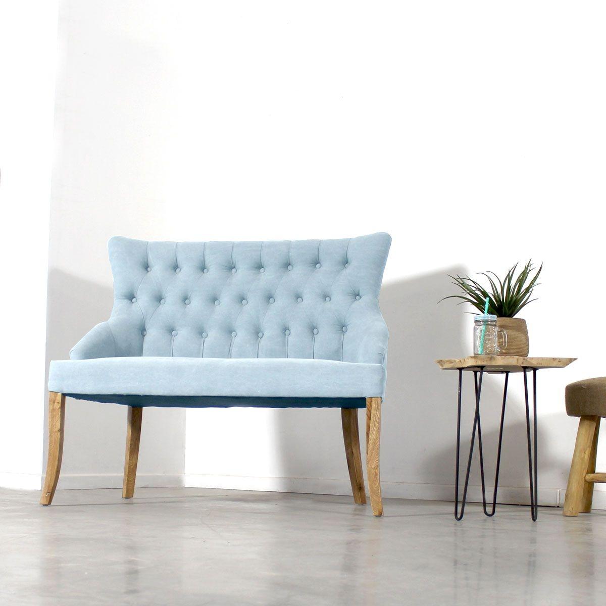 Sofa capitonné bleu pastel style baroque 2 places    LOP114