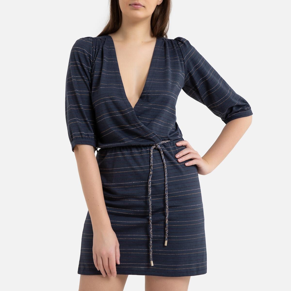 Платье La Redoute Короткое с декольте с запахом MARIE ROSIE M синий