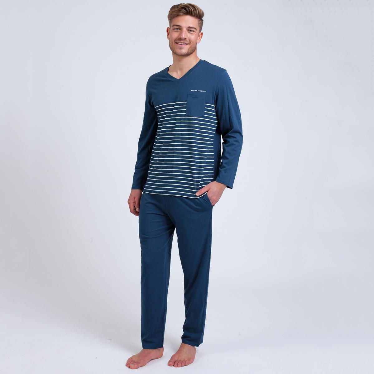 Пижама La Redoute длинная в полоску S синий цена 2017