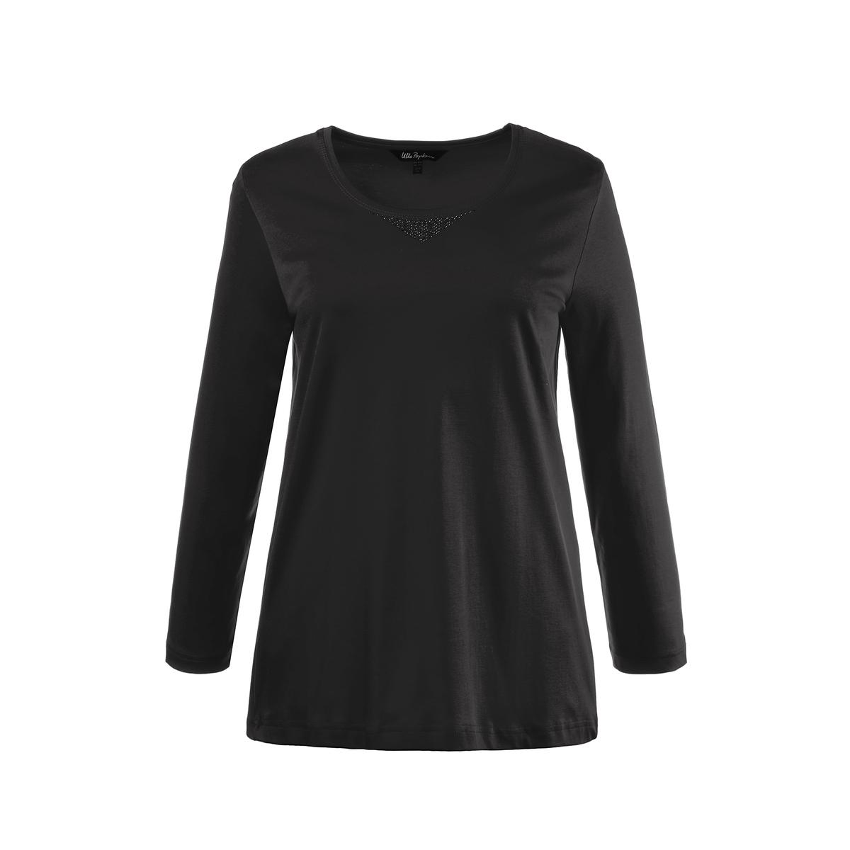 БлузкаБлузка - ULLA POPKEN. 100% хлопка. Блузка с длинными рукавами из хлопка Пима, с небольшим мотивом из страз . Круглый вырез и длинные рукава . Длина зависит от размера: 68-78 см.<br><br>Цвет: черный