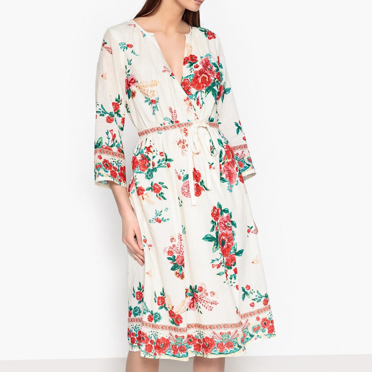 Платье с запахом и цветочным принтом RHUBARBE UKRANIAОписание:Платье с принтом и длинными рукавами LEON AND HARPER - модель RHUBARBE. Форма с запахом, ткань с принтом, цветочный рисунок. Завязки на поясе. Круглый вырез со сборками на кнопках.Детали •  Форма : с запахом •  Длина миди, 3/4 •  Длинные рукава    •  Без воротника •  Цветочный рисунокСостав и уход •  100% хлопок •  Следуйте советам по уходу, указанным на этикетке •  длина ок.114 см . для размера S •  Можно носить также, как кимоно<br><br>Цвет: экрю