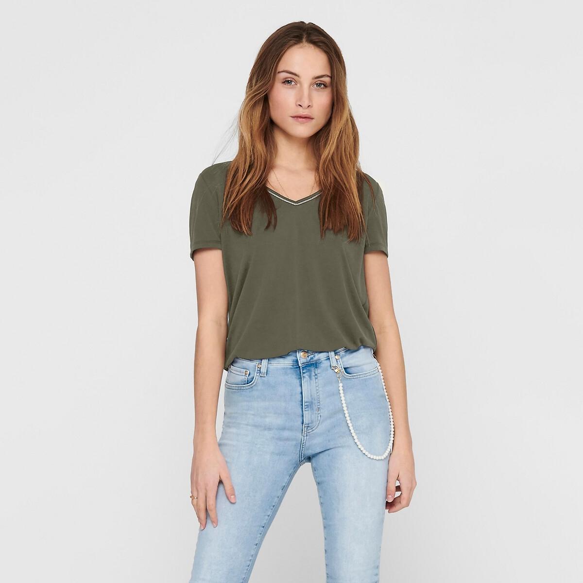 T-shirt de mangas curtas, decote em V