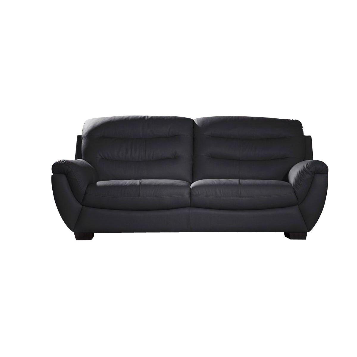 Canapé 3 places en cuir épais CORAL - Noir