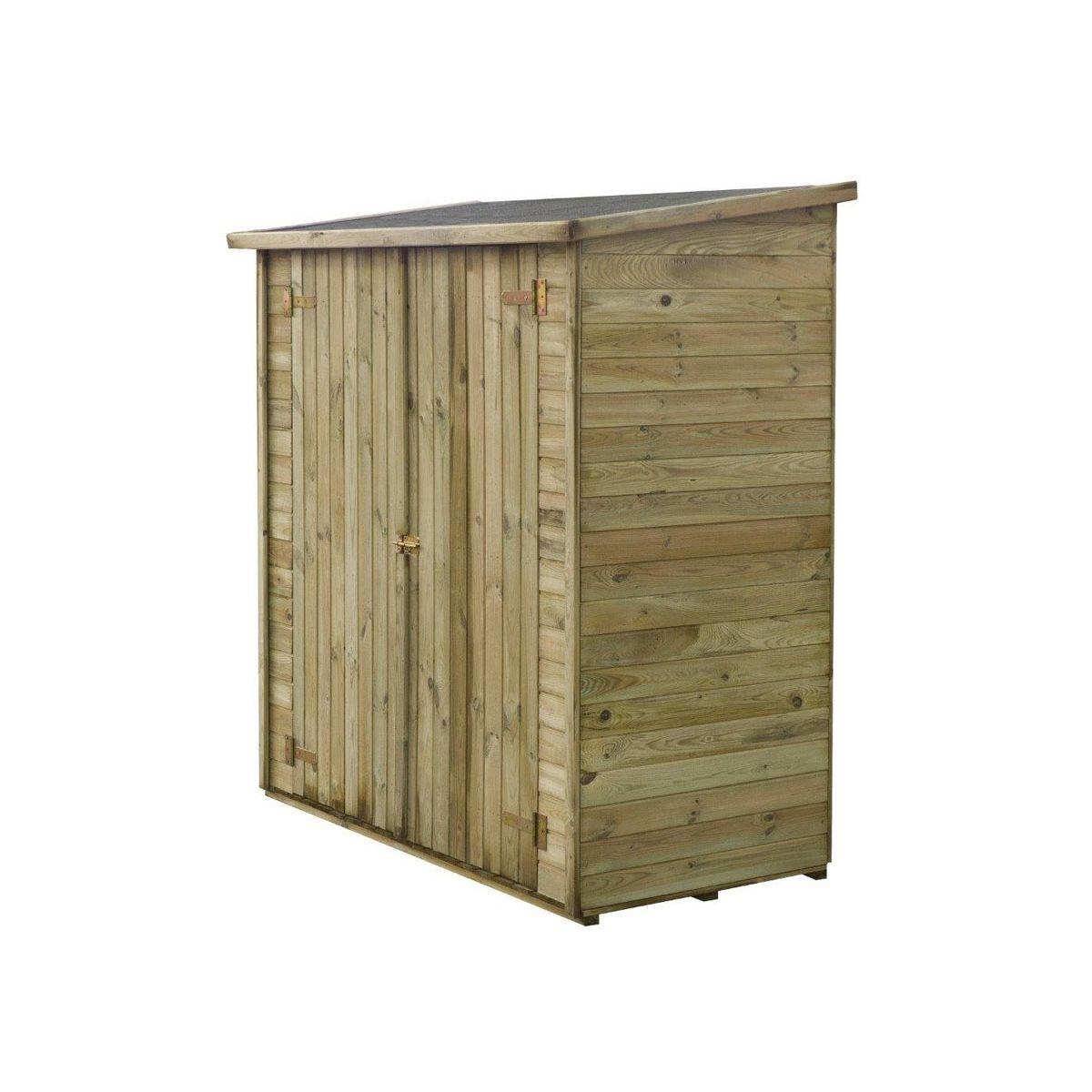 """Abri jardin bois adossable """"Lipki """" - 1.79 x 0.90 x 1.76/1.86 m  - 1.62 m² - 12 mm - Avec plancher"""