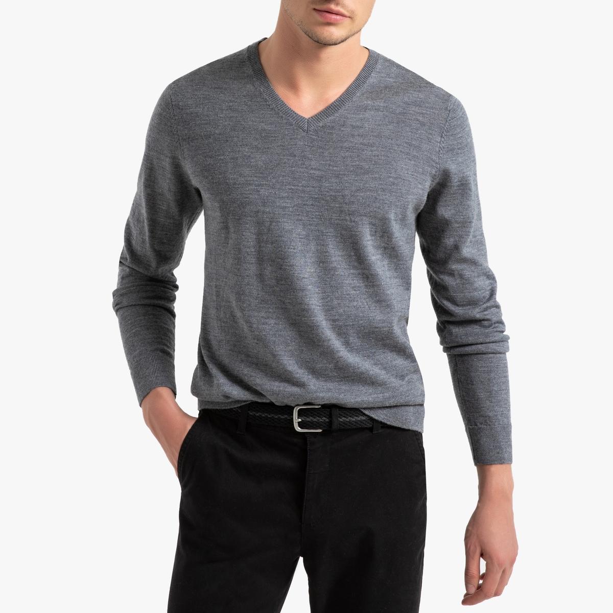 Пуловер La Redoute С V-образным вырезом из шерсти мериноса Pascal S серый пуловер la redoute с круглым вырезом из шерсти мериноса pascal 3xl черный