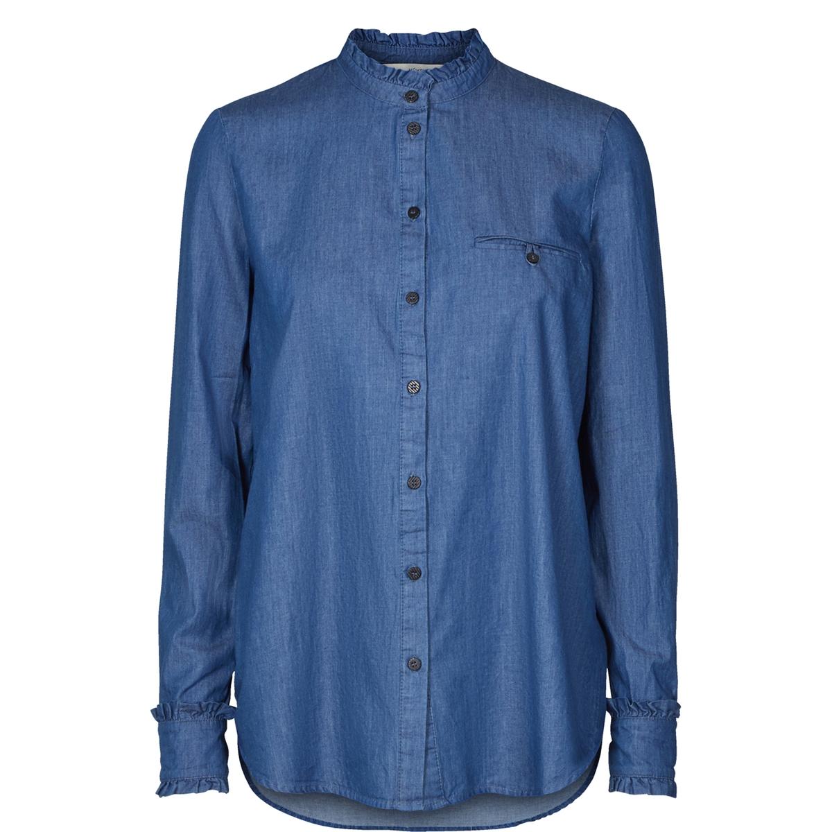 Рубашка из легкого денима с воротником-стойкойОписание:Детали  •  Длинные рукава •  Прямой покрой  •  Воротник-стойкаСостав и уход  •  100% хлопок •  Следуйте советам по уходу, указанным на этикетке<br><br>Цвет: голубой<br>Размер: 40 (FR) - 46 (RUS)