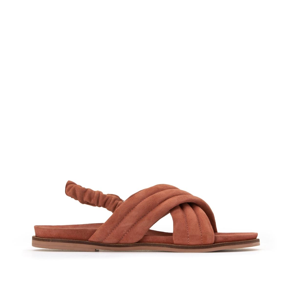 Фото - Сандалии LaRedoute Из кожи с перекрещенными ремешками на плоском каблуке 37 розовый сандалии la redoute из кожи с перекрещенными ремешками на плоском каблуке 39 розовый