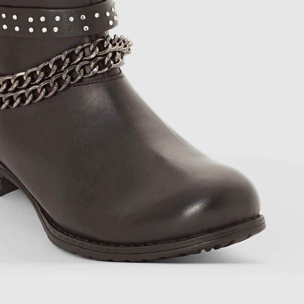 Ботинки кожаные, KarlВерх/ Голенище: Яловичная кожа.          Подкладка: Текстиль.            Стелька: Текстиль.            Подошва: Синтетический материал.         Высота голенища: 8 см. Форма каблука: Широкая.  Мысок: Круглый.     Застежка: На молнию.<br><br>Цвет: черный<br>Размер: 40.37