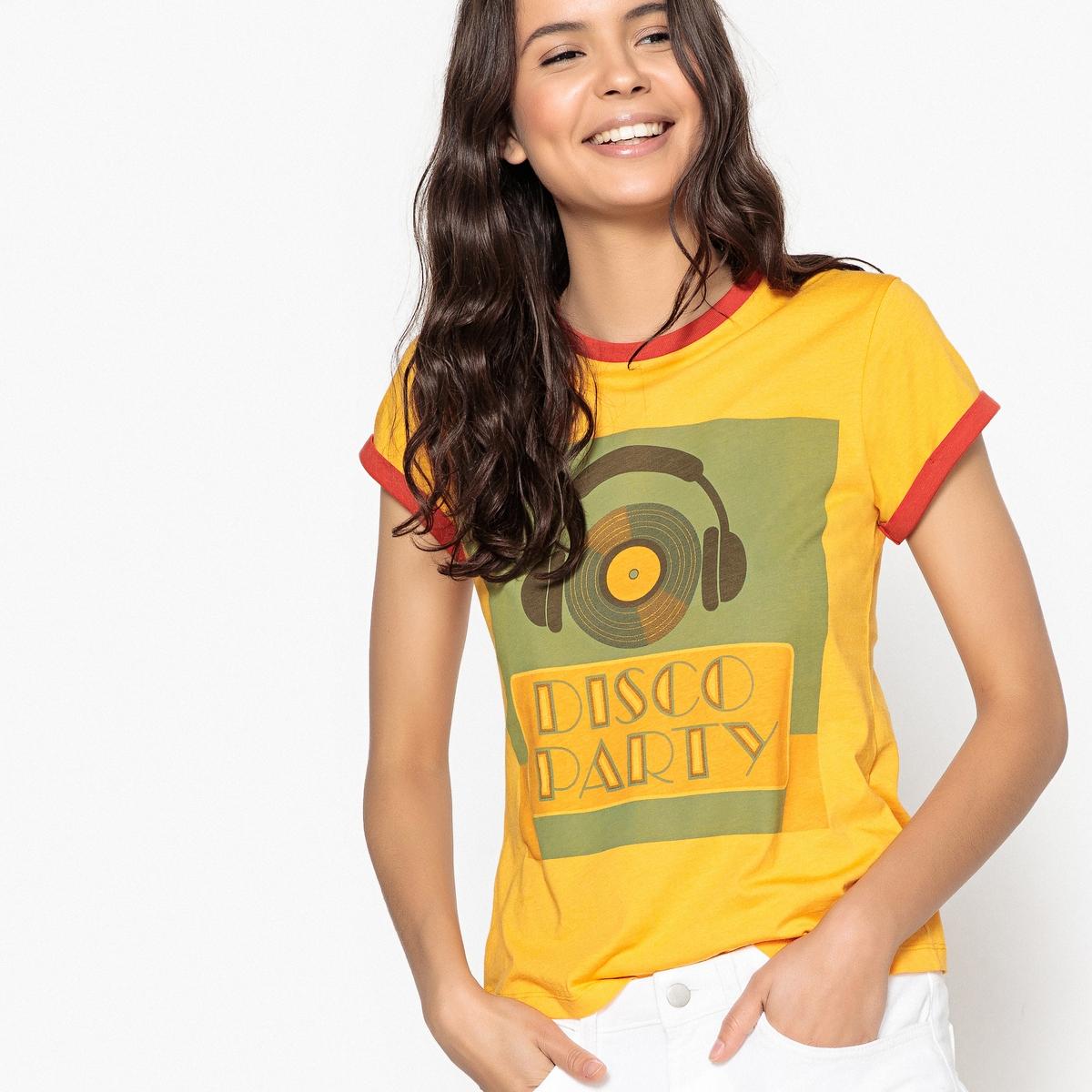 Футболка с круглым вырезом, короткими рукавами и рисунком спереди футболка с круглым вырезом рисунком и короткими рукавами