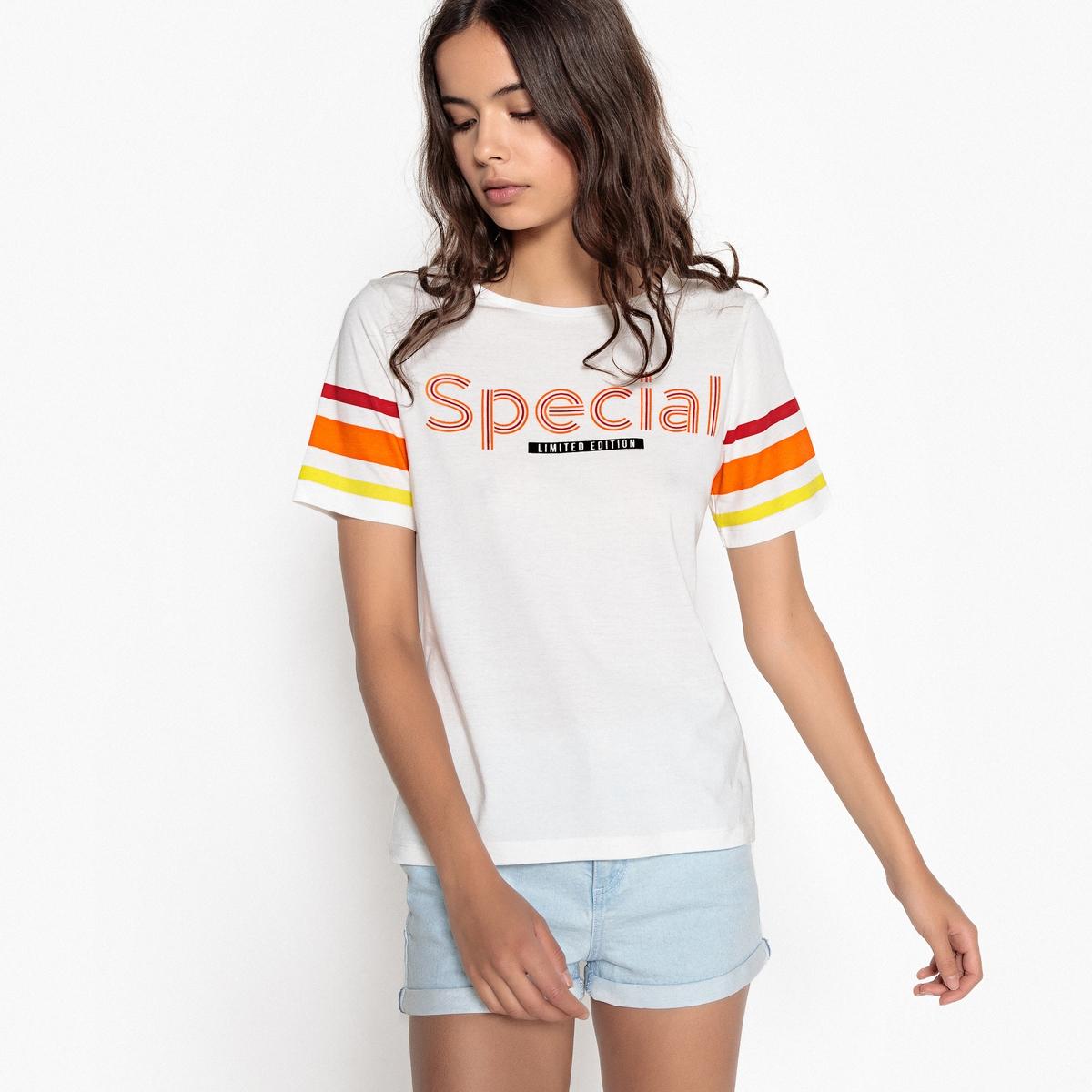 T-shirt com motivo e mangas curtas às riscas