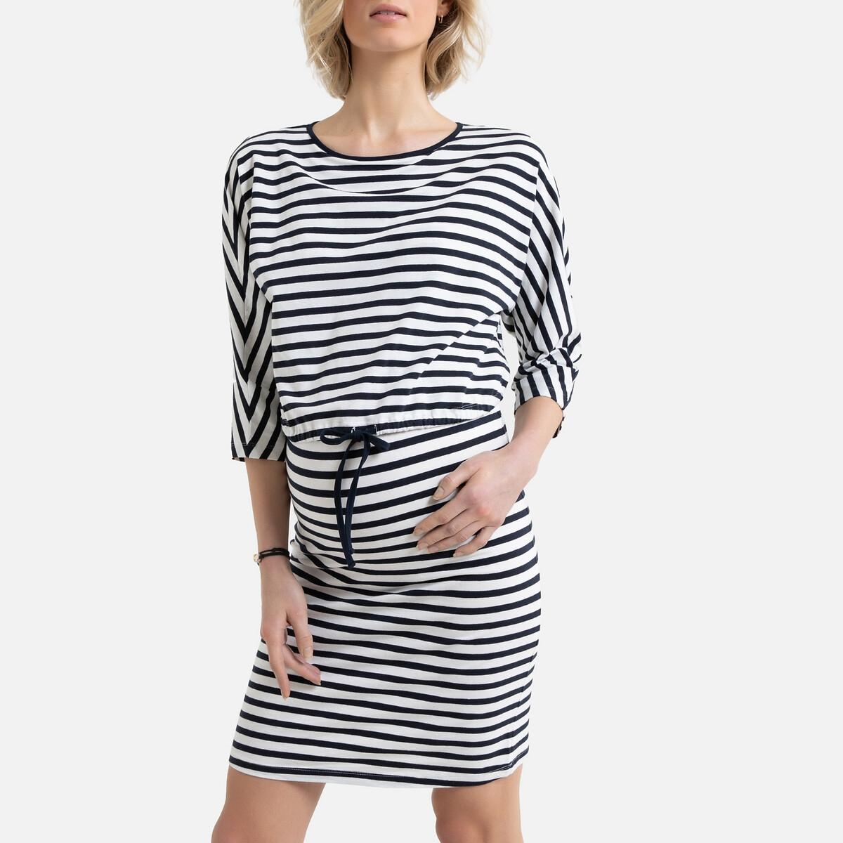 Платье La Redoute — Для периода беременности в полоску из биохлопка XL белый