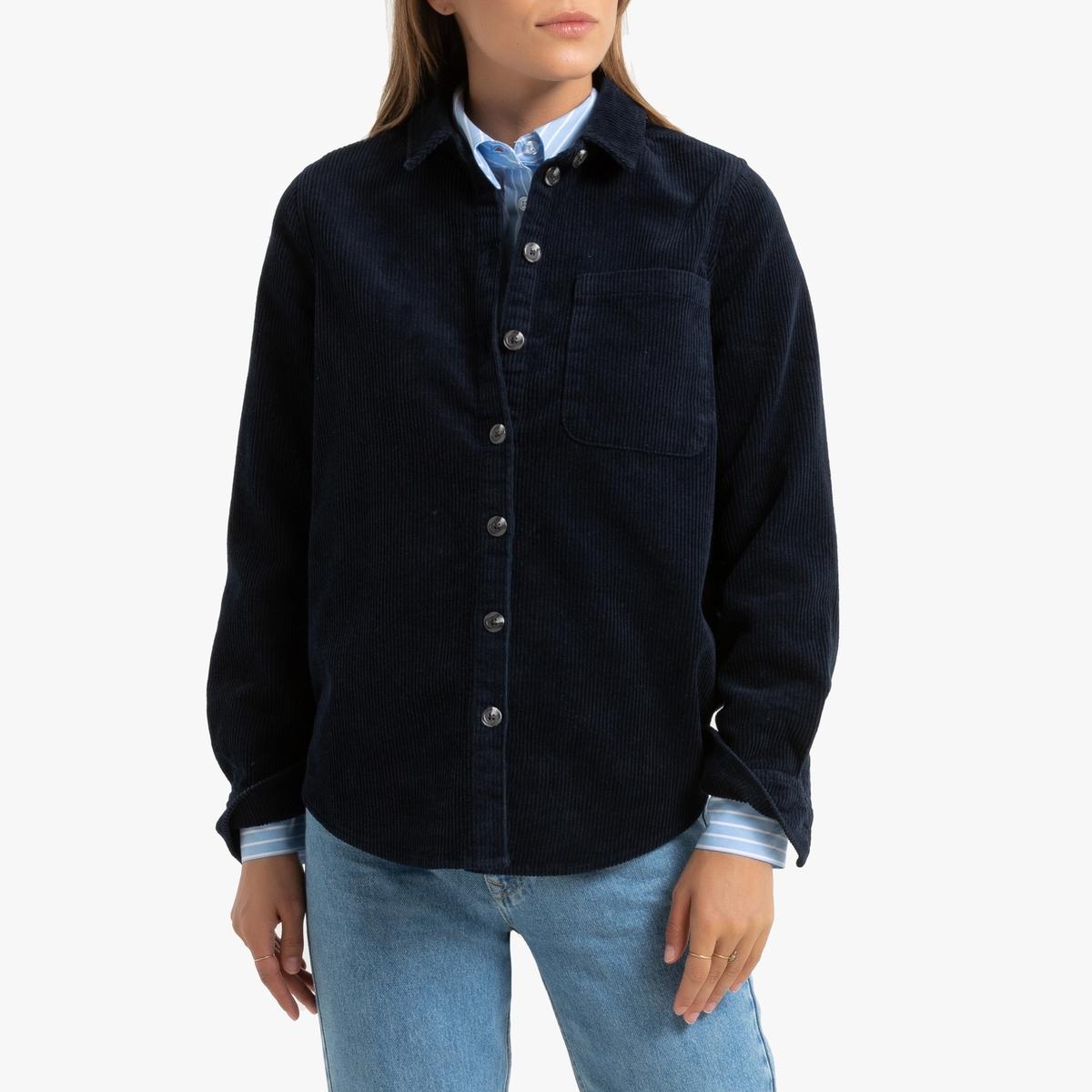 Рубашка La Redoute С длинными рукавами из велюра 38 (FR) - 44 (RUS) синий брюки чино la redoute la redoute 38 fr 44 rus синий