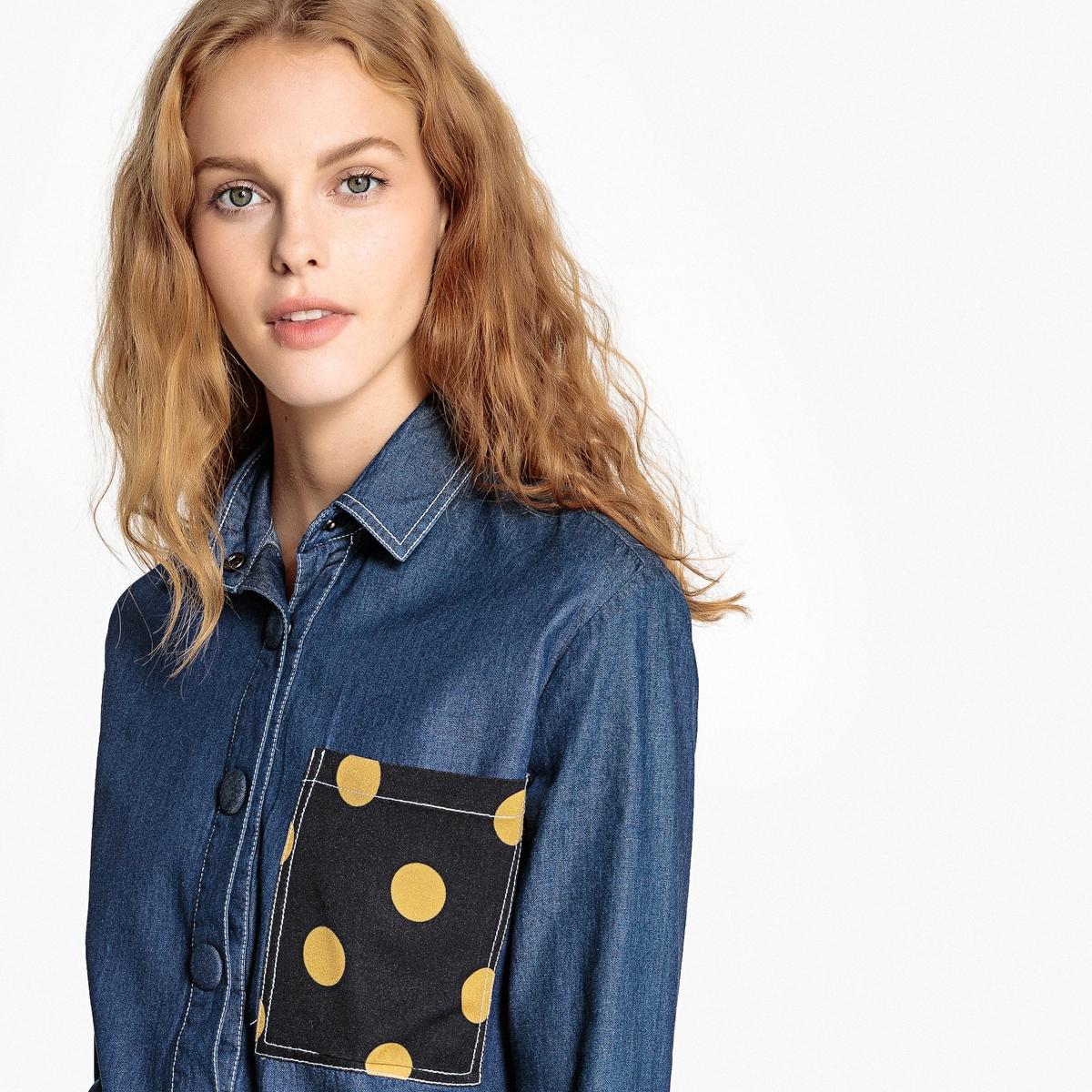 Рубашка LaRedoute Короткая из денима с карманом рисунком в горошек 36 (FR) - 42 (RUS) синий